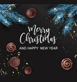 merry christmas and happy new year pine and sweets vector image vector image