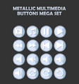 metallic multimedia buttons set for website vector image