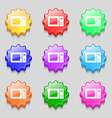 microwave icon sign symbol on nine wavy colourful vector image vector image