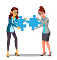 partnership two business woman holding in vector image