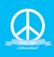 peace day international ribbon peace symbol vector image vector image