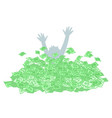 person drown in money cash vector image