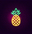 pineapple neon sign vector image vector image