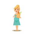 pregnant woman holding a paper bag vector image vector image