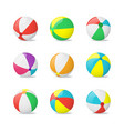 realistic detailed 3d beach balls set vector image vector image
