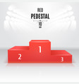 red 3d-pedestal template exhibition place vector image vector image