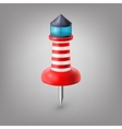 Red push pin lighthouse isolated vector image vector image