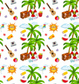 Seamless summer objects and coconut tree vector image