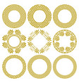 set round gold frames in greek style vector image