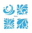 set water blue drops icons vector image vector image
