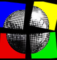 silver disco ball on four panels over black vector image vector image