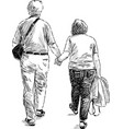 sketch a couple elderly spouses going on a vector image vector image