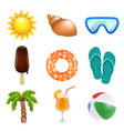 summer realistic icons travel and summer holidays vector image vector image