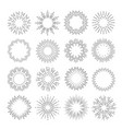 sunburst set flash sunlight line art vector image vector image