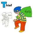 Thief Coloring book page vector image vector image