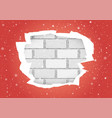 torn red wallpapers brick wall vector image vector image