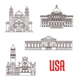 USA architecture landmarks icons vector image
