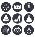 Wedding engagement icons Vow love letter vector image vector image