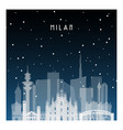 winter night in milan night city in flat style vector image vector image