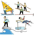 Businessmen making sport 2 vector image