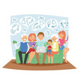 family together dreaming online shopping sales vector image