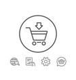 add to shopping cart line icon online buying vector image