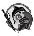 ancient hellenic helmet greek shield vector image vector image