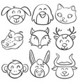 animal head funny doodle collection vector image vector image