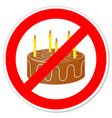 birthday cake in prohibiting signs vector image vector image