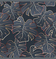 bronze leaf monstera seamless gray pattern vector image