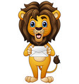 cartoon lion holding envelope vector image