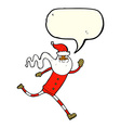 cartoon running santa with speech bubble vector image vector image
