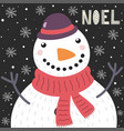 christmas card with a cute snowman in the snow and vector image vector image