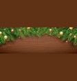 christmas fir tree on wooden background with copy vector image vector image