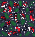 christmas pattern with red mittens socks hats vector image vector image