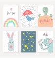 collection of cute artistic cards for kids vector image vector image