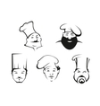 Cook and chef heads in toques