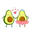 cute avocado in love green fruits couple cute vector image