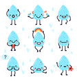 cute water drops hand drawn happy water drops vector image