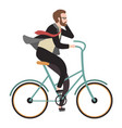 cyclist flat happy man ride bicycle and call vector image
