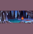 dark ice cave in mountain with bonfire vector image vector image