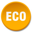 eco orange round flat isolated push button vector image vector image