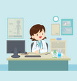 female doctor sitting at the table vector image vector image