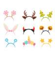 flat set of festive hair hoops cute head vector image vector image