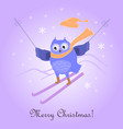 funny cute skiing owl new year and christmas card vector image vector image