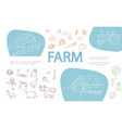 Hand drawn farm monochrome icons set