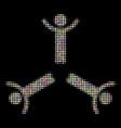 hands up men halftone mosaic of circles vector image vector image