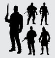 hero with gun silhouette vector image vector image