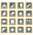 internal human organs icons set blue square vector image vector image
