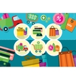 Internet shopping process and delivery icons vector image vector image